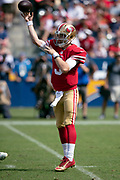 San Francisco 49ers quarterback C.J. Beathard (3) jumps in the air as he throws a pass during the NFL week 4 regular season football game against the Los Angeles Chargers on Sunday, Sept. 30, 2018 in Carson, Calif. The Chargers won the game 29-27. (©Paul Anthony Spinelli)