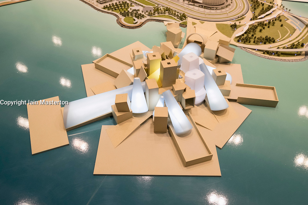 Model of new Guggenheim Museum to be built on Saadiyat Island in Abu Dhabi United Arab Emirates
