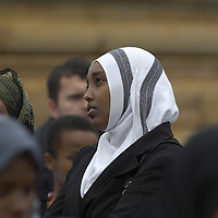 Young women ang girls wearing hijab, Eid in the Square, London, England<br />