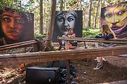 Dale Grimshaw 's o art in the woods - The 2018 Latitude Festival, Henham Park. Suffolk 14 July 2018