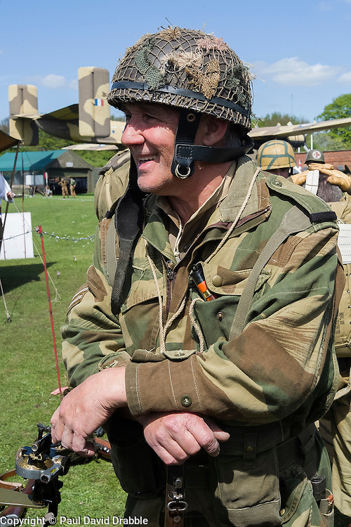 Reenactor from the  6th Airborne Living History Group wait to take part in a firing display <br /> <br />   04May 2015<br />   Image © Paul David Drabble <br />   www.pauldaviddrabble.co.uk