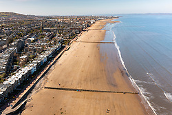 Aerial view of portobello Beach Edinburgh, Scotland, UK