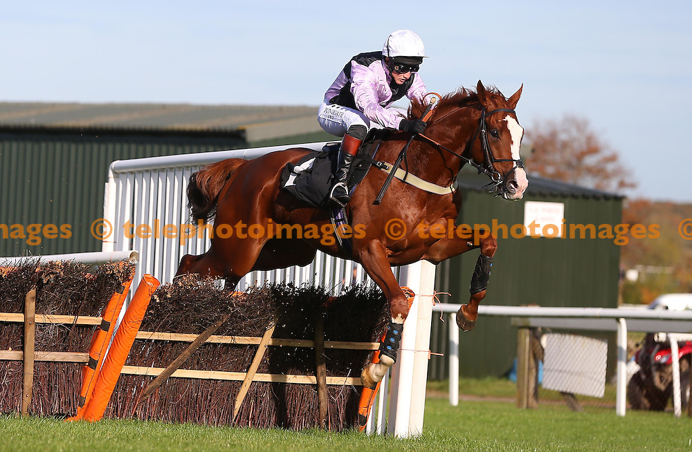 Plumpton, UK. 31st October 2016. Graasten ridden by Jamie Moore clears the final hurdle to land the Breeders´ Cup Exclusively On At The Races Maiden Hurdle<br /> © Telephoto Images / Alamy Live News