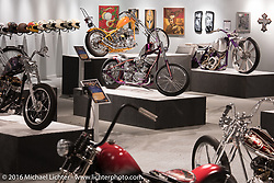 Nick Beaulieu's Forever Two Wheels 1963 Harley-Davidson 74 inch Panhead in Michael Lichter's Skin & Bones tattoo inspired Motorcycles as Art show at the Buffalo Chip Gallery during the annual Sturgis Black Hills Motorcycle Rally. SD, USA. August 10, 2016. Photography ©2016 Michael Lichter.