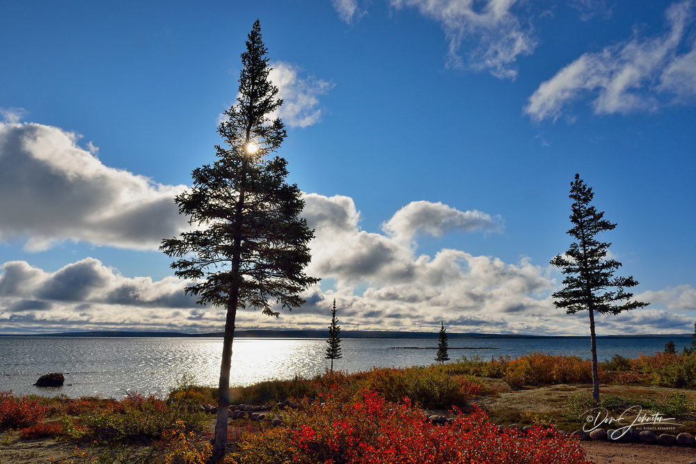 Ennadai Lake and morning clouds, Arctic Haven Lodge, Northwest Territories, Canada