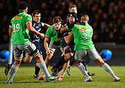 Sale Sharks No.8 Josh Beaumont drives into Harlequins prop Kyle Sinkler during a Gallagher Premiership match won by Sale Sharks 27-17 at the AJ Bell Stadium, Eccles, Greater Manchester, United Kingdom, Friday, April 5, 2019. (Steve Flynn/Image of Sport)