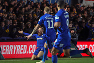 AFC Wimbledon midfielder Scott Wagstaff (7) celebrating after scoring goal during the The FA Cup match between AFC Wimbledon and West Ham United at the Cherry Red Records Stadium, Kingston, England on 26 January 2019.