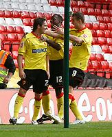 Photo: Steve Bond/Richard Lane Photography.<br />Nottingham Forest v Watford. Coca-Cola Football League Championship. 23/08/2008. Tommy Smith (L) celebrates