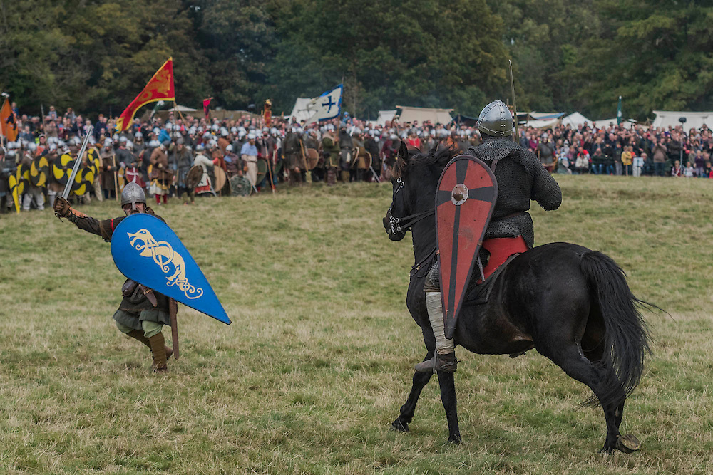 The initial single combat - English Heritage's annual re-enactment of the Battle of Hastings marks the 950th anniversary of the Battle in 1066. The event includes a Cavalry encampment, Norman & Saxon encampments and Medieval traders. It takes place at Battle Abbey on October 15th and 16th.