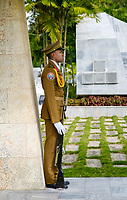 SANTIAGO DE CUBA, CUBA - CIRCA JANUARY 2020:  Cuban soldier at the Jose Marti Mausoleum at the Santa Ifigenia Cemetery in Santiago de Cuba. This is the resting place of a few notable Cubans, including Jose Marti and Fidel Castro among others.