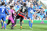 Cardiff City's Lex Immers (r) challenges the QPR defence for the ball. Skybet football league championship match, Cardiff city v Queens Park Rangers at the Cardiff city stadium in Cardiff, South Wales on Saturday 16th April 2016.<br /> pic by Carl Robertson, Andrew Orchard sports photography.