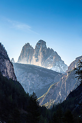 The Tre Cime di Lavaredo, also called the Drei Zinnen, are three distinctive battlement-like peaks, in the Sexten Dolomites of northeastern Italy. They are probably one of the best-known mountain groups in the Alps.  This is not the classic view.