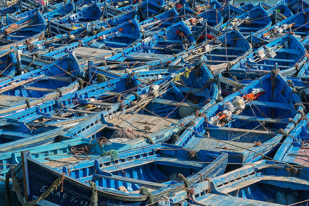 Blue fishing boats in the harbour of Essaouira in Morocco.