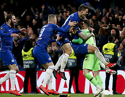 BRITAIN-LONDON-FOOTBALL-UEFA EUROPA LEAGUE-CHELSEA VS FRANKFURT.(190510) -- LONDON, May 10, 2019  Chelsea's Kepa Arrizabalaga (R) celebrates with teammates after winning the penalty shoot of the UEFA Europa League semi-final second leg match between Chelsea and Frankfurt in London, Britain on May 9, 2019.  FOR EDITORIAL USE ONLY. NOT FOR SALE FOR MARKETING OR ADVERTISING CAMPAIGNS. NO USE WITH UNAUTHORIZED AUDIO, VIDEO, DATA, FIXTURE LISTS, CLUBLEAGUE LOGOS OR ''LIVE'' SERVICES. ONLINE IN-MATCH USE LIMITED TO 45 IMAGES, NO VIDEO EMULATION. NO USE IN BETTING, GAMES OR SINGLE CLUBLEAGUEPLAYER PUBLICATIONS. (Credit Image: © Xinhua via ZUMA Wire)