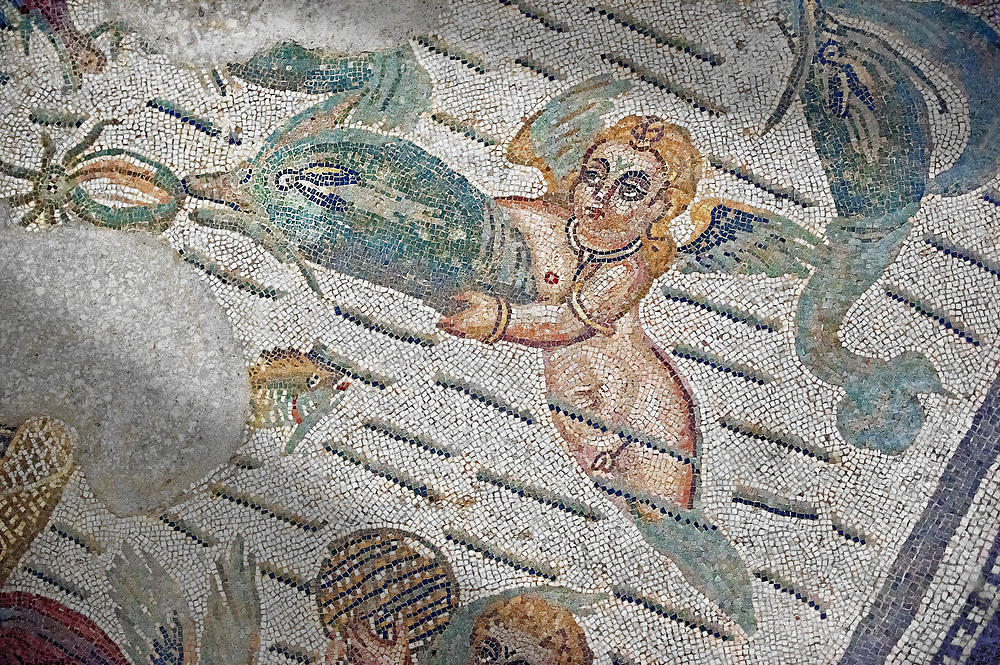 Detail of a swimming cupid Roman Mosaic from the Room of The Fishing Cupids, room 24, at the Villa Romana del Casale, first quarter of the 4th century AD. Sicily, Italy. A UNESCO World Heritage Site..  Wall art print by Photographer Paul E Williams If you prefer visit our World Gallery Print Shop To buy a selection of our prints and framed prints desptached  with a 30-day money-back guarantee and is dispatched from 16 high quality photo art printers based around the world. ( not all photos in this archive are available in this shop) https://funkystock.photoshelter.com/p/world-print-gallery .<br /> <br /> USEFUL LINKS:<br /> Visit our other HISTORIC AND ANCIENT ART COLLECTIONS for more photos to buy as wall art prints  https://funkystock.photoshelter.com/gallery-collection/Ancient-Historic-Art-Photo-Wall-Art-Prints-by-Photographer-Paul-E-Williams/C00002uapXzaCx7Y