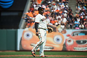 San Francisco Giants third baseman Pablo Sandoval (48) watches game play across the field against the Philadelphia Phillies at AT&T Park in San Francisco, California, on August 20, 2017. (Stan Olszewski/Special to S.F. Examiner)