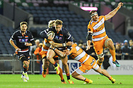 Darcy  Graham makes a break during the Guinness Pro 14 2018_19 match between Edinburgh Rugby and Toyota Cheetahs at BT Murrayfield Stadium, Edinburgh, Scotland on 5 October 2018.