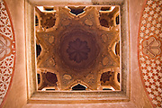 View of the ornate ceiling of the Koubba Ba'adiyn, Marrakech medina, Morocco. It is the oldest building in Marrakech (c. 1100) and the only surviving Almoravid structure in Morocco.