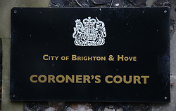 © Licensed to London News Pictures. 10/11/2015. Brighton, UK. Brighton and Hove Coroner's Court where earlier Nick Cave attended an inquest into the death of his son. 15 year old Arthur Cave, the son of the musician, died as the result of a fall from cliffs in Brighton in July 2015. Photo credit: Peter Macdiarmid/LNP