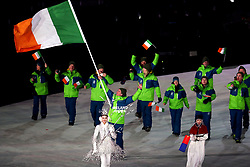 Ireland's flag bearer Seamus O'Connor during the Opening Ceremony of the PyeongChang 2018 Winter Olympic Games at the PyeongChang Olympic Stadium in South Korea.