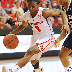 Rutgers Scarlet Knights guard Erica Wheeler (3) drives to the basket during second half NCAA Big East women's basketball action between Notre Dame and Rutgers at the Louis Brown Athletic Center. Notre Dame defeated Rutgers 71-41.