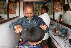 A barbershop in Kathmandu after our Himalayan Heroes motorcycling adventure, Nepal. Saturday, November 17, 2018. Photography ©2018 Michael Lichter.