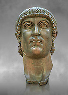 Roman gilded bronze head of Emperor Constantine dating from about 330-337 AD.. Inv 5.13, The Capitoline Museums, Rome ..<br /> <br /> If you prefer to buy from our ALAMY STOCK LIBRARY page at https://www.alamy.com/portfolio/paul-williams-funkystock/greco-roman-sculptures.html . Type -    Capitoline    - into LOWER SEARCH WITHIN GALLERY box - Refine search by adding a subject, place, background colour, etc.<br /> <br /> Visit our ROMAN WORLD PHOTO COLLECTIONS for more photos to download or buy as wall art prints https://funkystock.photoshelter.com/gallery-collection/The-Romans-Art-Artefacts-Antiquities-Historic-Sites-Pictures-Images/C0000r2uLJJo9_s0