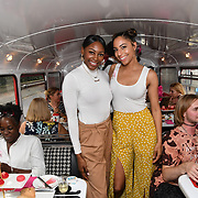 Perri Shakes-Drayton and Su-Elise attend Brigits Bakery host their Pink Ribbon Afternoon Tea in aid of the Pink Ribbon Foundation, London, UK. 16 October 2018.
