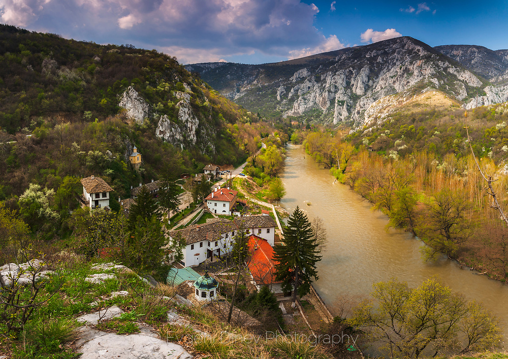 Old Bulgarian monastery located across a river