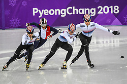 February 17, 2018 - Pyeongchang, Gangwon, South Korea - Lim Hyojun of South Korea, Thibaut Fauconnet of France, Hwang Daeheon of South Korea..and Seo Yira of South Korea competing in 1000 meter speed skating for men at Gangneung Ice Arena, Gangneung, South Korea on 17 February 2018. (Credit Image: © Ulrik Pedersen/NurPhoto via ZUMA Press)