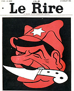 The man with a knife between his teeth'. Anti-Stalin cartoon from 'Le Rire',   Paris, 27 July 1935.
