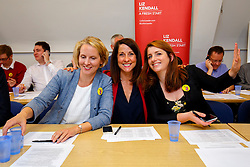 © Licensed to London News Pictures. 07/09/2015. London, UK. Labour Party leader candidate Liz Kendall and her supporters Emma Reynolds and Alison McGovern calling Labour Party members to make sure they vote before the Thursday lunchtime deadline as the Labour leadership election enters the final 72 hours. Photo credit: Tolga Akmen/LNP