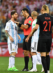 NIZHNY NOVGOROD, June 21, 2018  Lionel Messi (1st L) of Argentina argues with the referee during the 2018 FIFA World Cup Group D match between Argentina and Croatia in Nizhny Novgorod, Russia, June 21, 2018. (Credit Image: © Li Ga/Xinhua via ZUMA Wire)