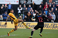 Joss Labadie of Newport county (l) is denied by Glenn Morris, the Crawley Town goalkeeper. EFL Skybet football league two match, Newport county v Crawley Town at Rodney Parade in Newport, South Wales on Saturday 1st April 2017.<br /> pic by Andrew Orchard, Andrew Orchard sports photography.