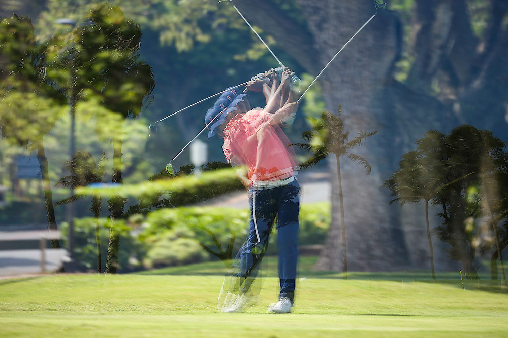 Ty Stites of CSU-Fullerton tees off on number four during the first round of the 3rd annual Kaanapali Classic collegiate invitational. Kaanapali Royal Course Lahaina, Hawaii November 4th, 2016/ Photo by Aric Becker