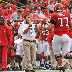 Sep 12, 2009; Piscataway, NJ, USA;  Rutgers head coach Greg Schiano cheers his team off the field after a touchdown drive during the first half of Rutgers' 45-7 victory over Howard in NCAA College Football at Rutgers Stadium.