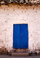 MARAS, PERU - CIRCA OCTOBER 2015:  Front door in the Maras village in the Cusco region known as Sacred Valley