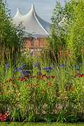The Perennial Sanctuary Garden by Tom Massey for the Gardeners Royal Bennevolent Society - The Hampton Court Flower Show, organised by the Royal Horticultural Society (RHS). In the grounds of the Hampton Court Palace, London.