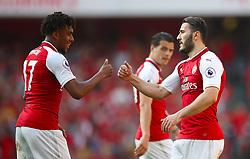 Arsenal's Sead Kolasinac (right) celebrates scoring his side's third goal of the game with team mate Arsenal's Alex Iwobi