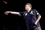 Michael Smith during the 2016 Gibraltar Darts Trophy at the Victoria Stadium, Gibraltar on 8 May 2016. Photo by Shane Healey.