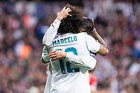 Real Madrid Marcelo and Mateo Kovacic celebraiting a goal during Semi Finals UEFA Champions League match between Real Madrid and Bayern Munich at Santiago Bernabeu Stadium in Madrid, Spain. May 01, 2018. (ALTERPHOTOS/Borja B.Hojas)