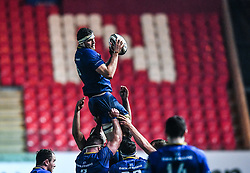 Leinster's Josh Murphy claims the lineout<br /> <br /> Photographer Craig Thomas/Replay Images<br /> <br /> Guinness PRO14 Round 17 - Scarlets v Leinster - Friday 9th March 2018 - Parc Y Scarlets - Llanelli<br /> <br /> World Copyright © Replay Images . All rights reserved. info@replayimages.co.uk - http://replayimages.co.uk