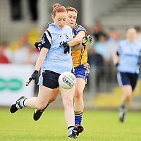 14 August 2010; Elaine Kelly, Dublin, in action against Sinead Kelly, Clare. TG4 Ladies Football All-Ireland Senior Championship Quarter-Final, Clare v Dublin, St Rynagh's, Banagher, Co. Offaly. Picture credit: Brendan Moran / SPORTSFILE *** NO REPRODUCTION FEE ***