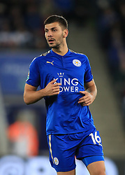 """Leicester City's Aleksander Dragovic during the Carabao Cup, third round match at the King Power Stadium, Leicester. PRESS ASSOCIATION Photo. Picture date: Tuesday September 19, 2017. See PA story SOCCER Leicester. Photo credit should read: Mike Egerton/PA Wire. RESTRICTIONS: EDITORIAL USE ONLY No use with unauthorised audio, video, data, fixture lists, club/league logos or """"live"""" services. Online in-match use limited to 75 images, no video emulation. No use in betting, games or single club/league/player publications."""