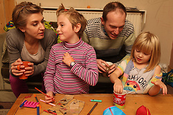 Parents and children crafting