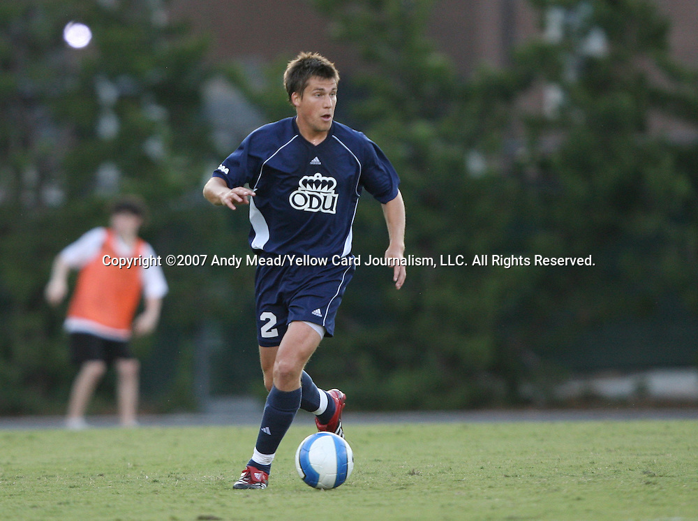2 September 2007: Old Dominion's Ollie Lutton (ENG). The University of North Carolina Tar Heels tied the Old Dominion University Monarchs 1-1 at Fetzer Field in Chapel Hill, North Carolina in an NCAA Division I Men's Soccer game.