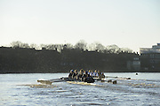 """London; GREAT BRITAIN; Oxford University Trial Eights for crew selection for 157th Boat Race Both crews in action, as the approach the finish line,  with Nurture taking a lead.  [April 2011]  raced over the Championship Course Putney to Mortlake  on the River Thames. Wednesday  08/12/2010   [Mandatory Credit; """"Photo, Peter Spurrier/Intersport-images].Crews.OUBC Nature; Surrey Station.Bow, Charlie AUER, 2. Tom WATSON, 3. Dan HARVEY, 4. David WHIFFIN, 5, Karl HUDSPITH, 6. Moritz HAFNER, 7. Ben MYERS, stroke. Constantine LOULOUDIS and cox Zoe DeTOLEDO...OUBC Nurture Middx Station [White Tops].Bow, George BLESSLEY, 2. Matt POINTING, 3. Alex WOODS, 4. Alex DENT, 5. Ben ELLISON,6. Simon HISLOP, 7. George WHITTAKER, Stroke Ben SNODIN and Cox Hannah LEADBETTER.."""