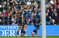 Leeds United's Kemar Roofe celebrates scoring the opening goal with Mateusz Klich<br /> <br /> Photographer Alex Dodd/CameraSport<br /> <br /> The EFL Sky Bet Championship Play-off  First Leg - Derby County v Leeds United - Thursday 9th May 2019 - Pride Park - Derby<br /> <br /> World Copyright © 2019 CameraSport. All rights reserved. 43 Linden Ave. Countesthorpe. Leicester. England. LE8 5PG - Tel: +44 (0) 116 277 4147 - admin@camerasport.com - www.camerasport.com