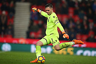 Jack Butland, the Stoke city goalkeeper in action. Premier league match, Stoke City v Manchester City at the Bet365 Stadium in Stoke on Trent, Staffs on Monday12th March 2018.<br /> pic by Andrew Orchard, Andrew Orchard sports photography.