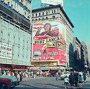 CH0041. Burt Lancaster The Kentuckian showing at the Mayfair Theater, New York. That movie's run there began September 1, 1955. 7th Ave and west 47th. The Mayfair was on 7th Avenue between 47th & 48th.